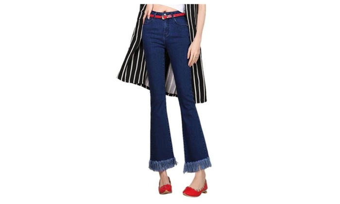 Women's Bell Bottom Flare Fringed Cropped Nine Point Jeans