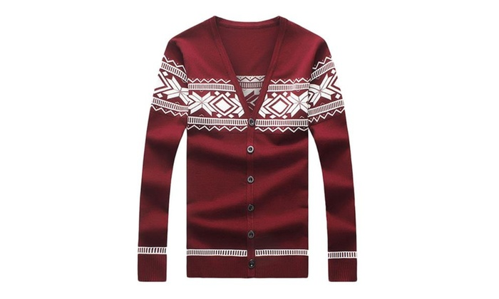 Men's Relaxed Fit Geometric Long Sleeve Cardigan Sweater