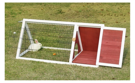 Wooden Triangle Rabbit Hutch Bunny Cage Small Animal House Pet Cage d45bd9fb-7f03-484a-a3bb-8188f0a68bdc