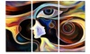Colorful Intuition Abstract Metal Wall Art 36x28 3 Panels