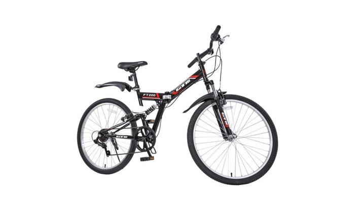26Folding Mountain Bike 7 Speed Bicycle Shimano Hybrid Suspension