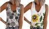Womens V Neck Henley Tank Tops Button Up Sleeveless Novelty Shirts Tee Blouse