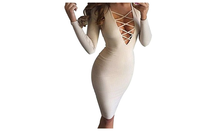 Women Sexy Long Sleeve Autumn Warm Stretch  Party Bandage Dresses