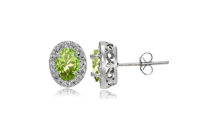 Groupon Goods Sterling Silver Peridot And White Topaz Oval Halo Stud Earrings
