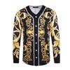 Men'sFloral Print Button Down Casual Long Sleeve Baseball  Shirt