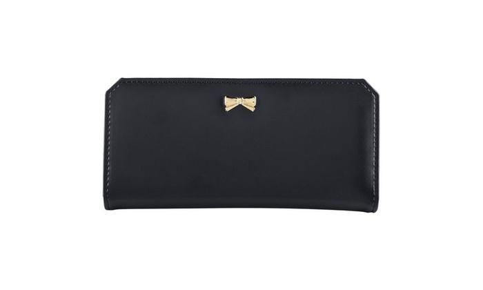 Zodaca Black Women's Soft PU Leather Bowknot Clutch Wallet Card Purse