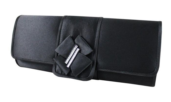 Jacki Design Elegant Satin Clutch w/ Bow Accent