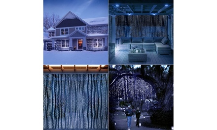 LED Concepts Curtain String Icicle Fairy Lights