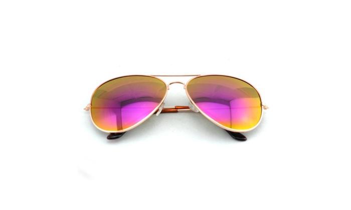Mirrored Aviator Sunglasses Unisex Gold/Silver Frame Purple Lenses