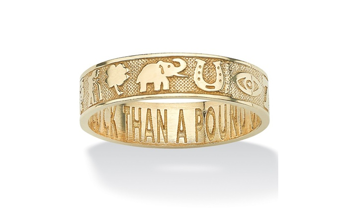 10k Yellow Gold Lucky Symbols Better An Ounce Of Luck Ring Groupon