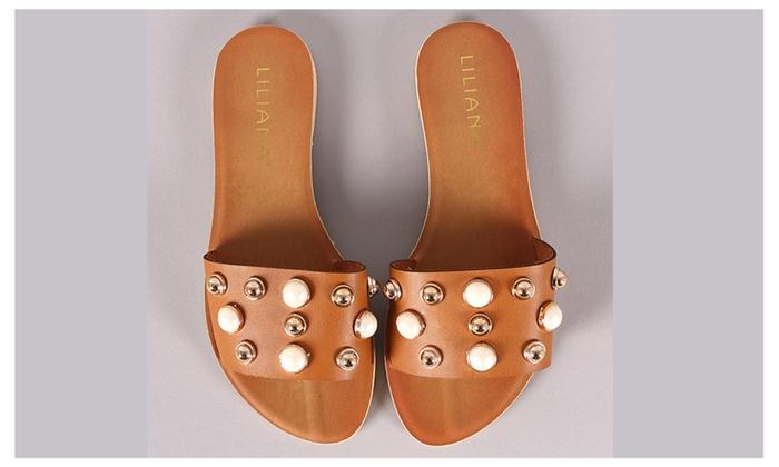 28f1c65279d0 Women s Pearl   Stud Slide Slip On Chic Flat Sandal by Liliana ...