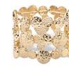 "Hammered Circle Charm Stretch Bangle Bracelet in Gold Tone 7"""