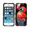 Insten Soccer Ball Collage Dual Silicone Case For Iphone Se/5 5s Brown