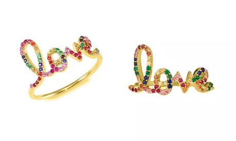 Multi Color Rainbow Crystal Rings Made With Crystals From Swarovski