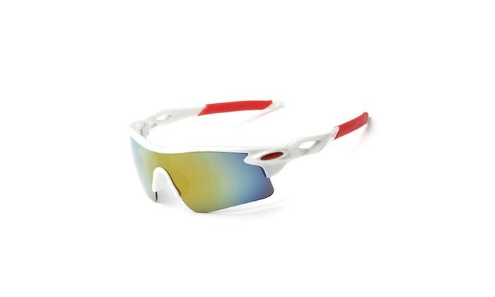 Sports Sunglasses for Men & Women Windproof UV400 Golden/White