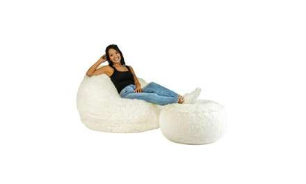 AirCandy Mongolian Faux Fur Inflatable Chair & Ottoman