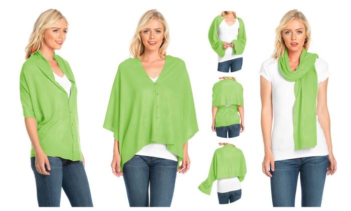 FACA Womens Convertible Shawl Wrap, Scarf, Vest, Poncho, Shrug or Halt