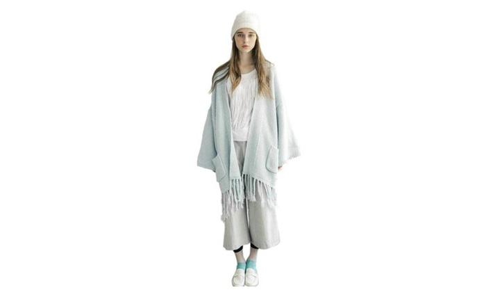 Women's Knit Tassels Batwing Oversized Cardigan