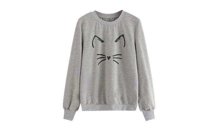 f64f25cb8 Up To 59% Off on Romwe Women s Cat Print Sweat...