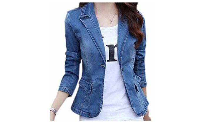 Womens Turndown Collar Button Down Blazer Denim Jacket