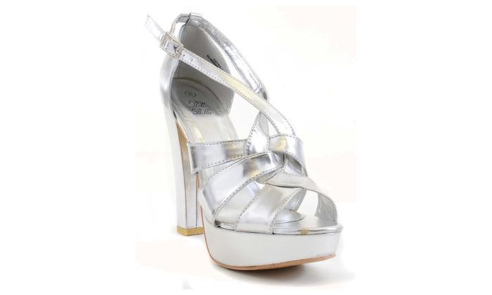 Silver Metallic Anklet Open Toe Platform Heels Fourever Funky
