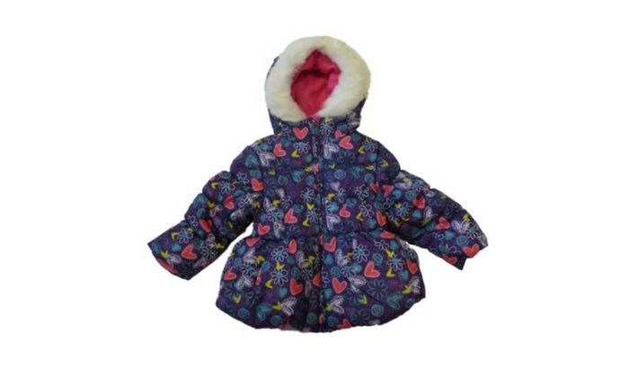 Girls Purple Floral Winter Coat | Groupon