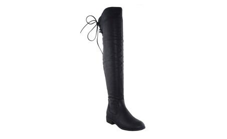 Beston EC71 Women Thigh High Drawstring Low Chunky Heel Costume Boots 973430a2-d4c7-48c0-9d30-6d5e9ef9e396