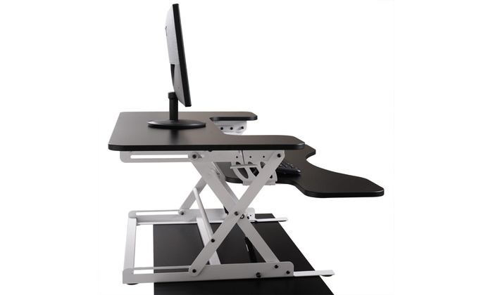 Adjustable Height Stand Up Desk Computer Workstation Lift Rising Laptop B/&W