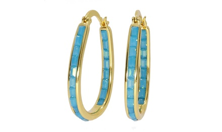 Turquoise Emerald Cut Crystal Inside Out Hoops Plated In 18K Gold Was: $43 Now: $7.