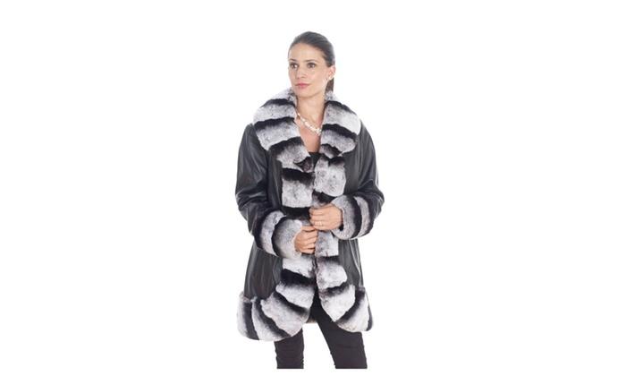 B023 Leather Coat With Rex Rabbitt Collar
