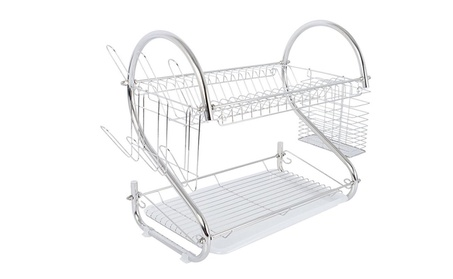 2-Tier Multi-function Stainless Steel Dish Drying Rack, Cup Drainer ef93393c-f873-433b-8bca-6333b2717f7e