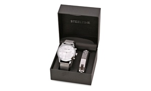 Men's Stainless Steel Watch And Prayer Bracelet Set