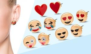 Emoji Earrings in Gold Plating (3-, 5-, or 7-Pack)