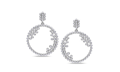 Cubic Sterling Silver Round Bezel Set Fancy Drop Earrings 9c2a1038-92a0-4701-a86a-03fbd2eec1f5