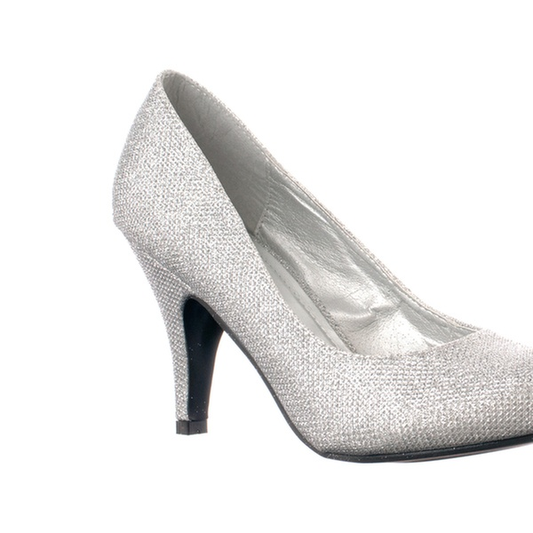 2539b2ef47a Riverberry 'Janet-05' Glitter Round Toe Mid-heel Pumps, Silver Glitter