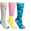 Girls 3pk Fun Patterned Knee Hi Socks
