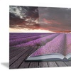 Book Open to Lavender Field Floral Metal Wall Art 28x12