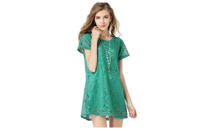 Ladies Short Sleeve Lace Dress Bottoming Dress
