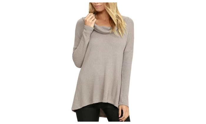 Women's Long Sleeve Loose Fit Hi-low Hem Casual Pullovers