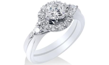 1 1/10 CT Diamond Halo 3-Stone Engagement Ring Sapphire 14K White Gold 95a9cc54-3571-4527-af08-394a6838e36e