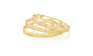 Set of 3 Diamond Cut Heart Bangles in 18K Gold