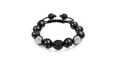 Bling Jewelry Black Pave Crystal Shamballa Inspired Bracelet Beads 12m