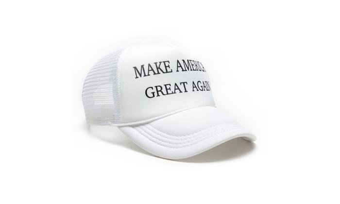 Donald Trump Make America Great Again Hats Adjustable Mesh Cap – White