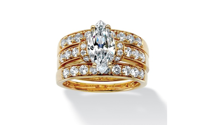 3 Piece 3 18 Tcw Marquise Cut Cubic Zirconia Bridal Ring