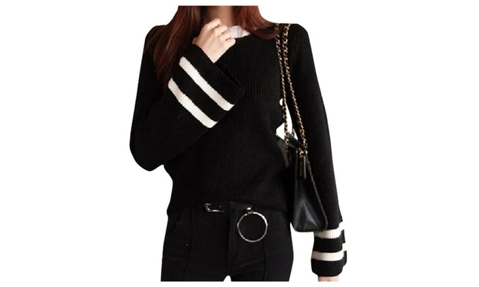 Women's Straight Hem Casual Long Sleeve Pullovers Sweater