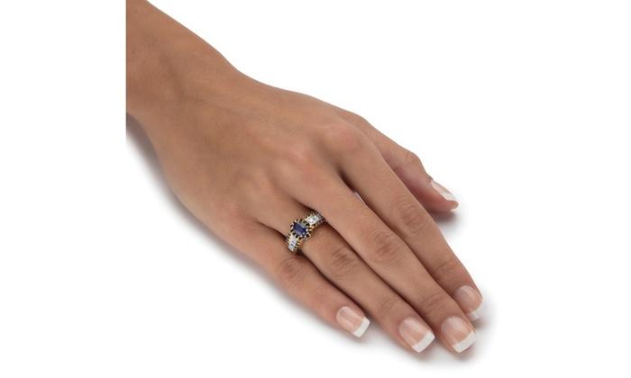 15 68 Tcw Sapphire Topaz 14k Yellow Gold Halo Ring Groupon