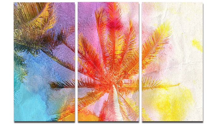 Reflective Retro Palm Trees - Landscape Painting Metal Wall Art ...