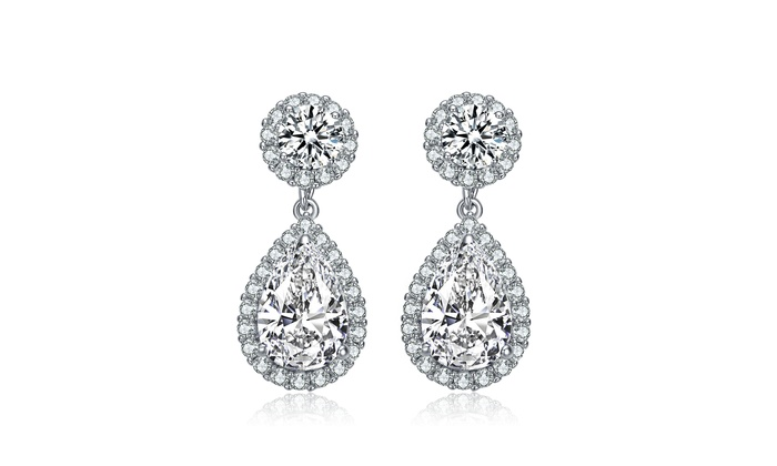 Relaveno 925 Sterling Silver Clear Pear And Round Cz With Halo Drop Earrings Groupon