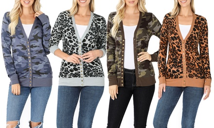 Haute Edition Women's Camouflage and Leopard Snap Button Cardigan with Plus