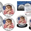 2018 Colorized Flowing Flag JFK Kennedy Half Dollar 2-Coin Set - Both P & D Mint